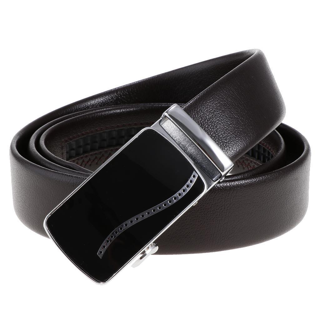 Cinture-in-pelle-per-cintura-da-cricchetto-da-uomo-con-fibbia-automatica miniatura 5