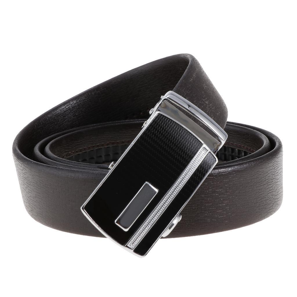 Cinture-in-pelle-per-cintura-da-cricchetto-da-uomo-con-fibbia-automatica miniatura 6
