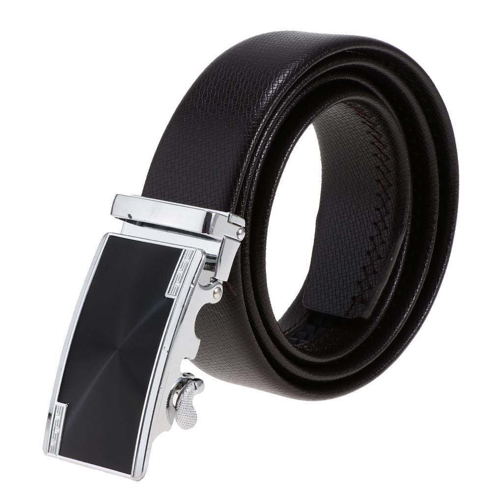 Cinture-in-pelle-per-cintura-da-cricchetto-da-uomo-con-fibbia-automatica miniatura 3
