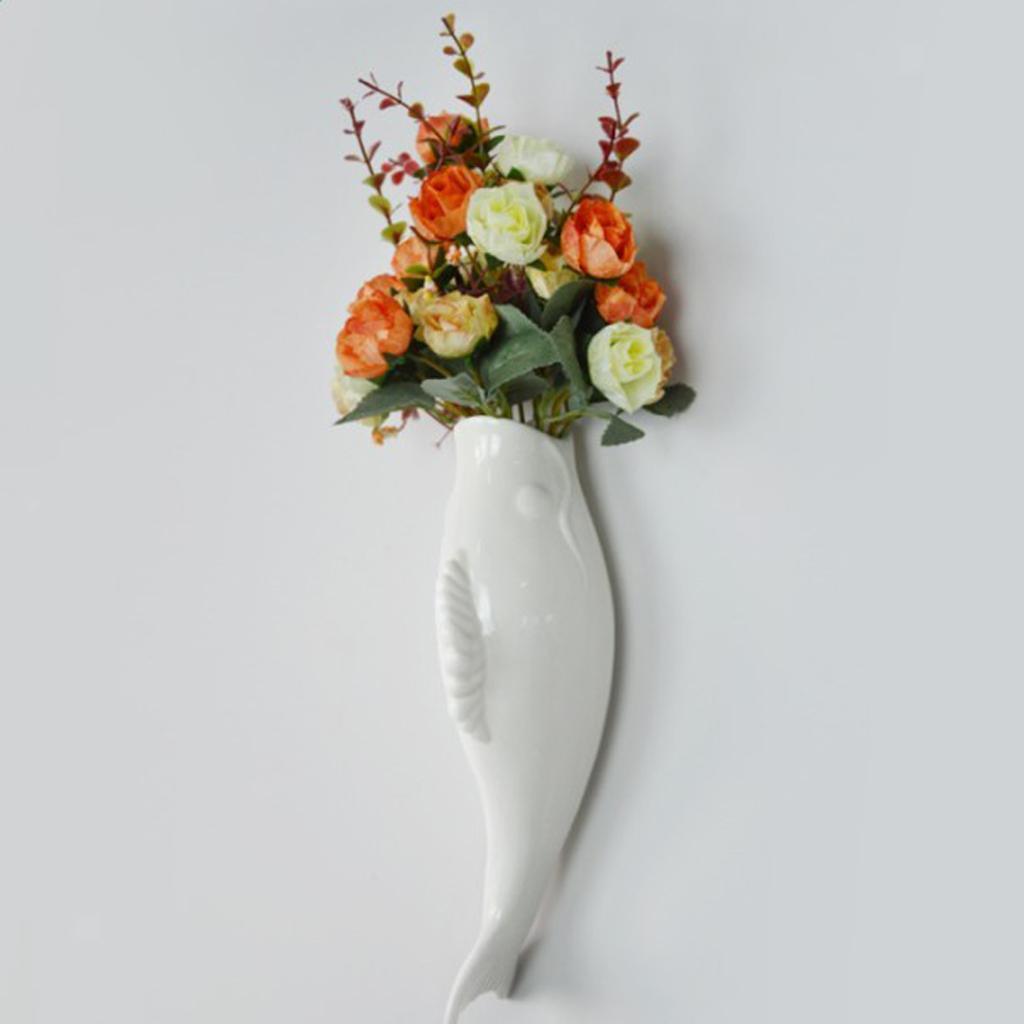 Plantes-murales-en-ceramique-de-poissons-suspendus-fleur-Vase-Mural-pour-la miniature 12