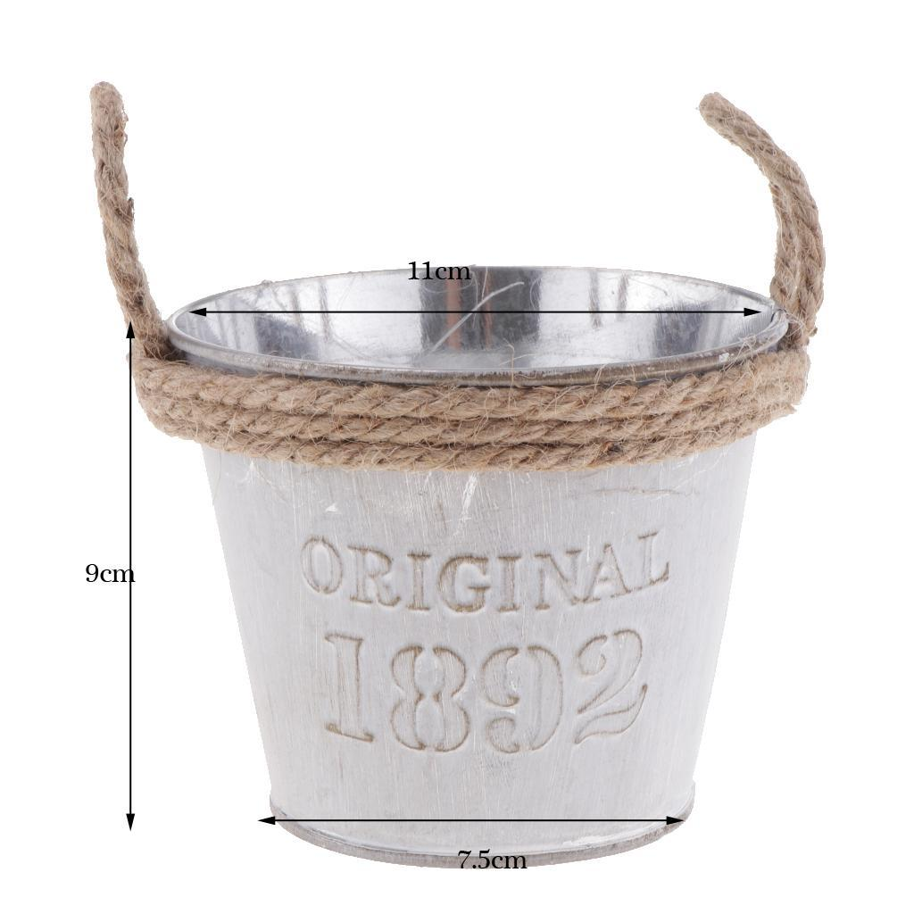 French-Galvanised-Metal-Tin-Flower-Succulent-Plant-Pot-Bucket-Flower-Vase thumbnail 13