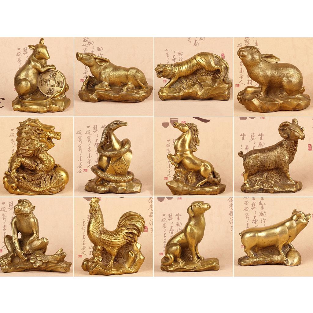 Blesiya Copper 12 Zodiac SHENGXIAO Animal Figurines Garden Ornament Dragon