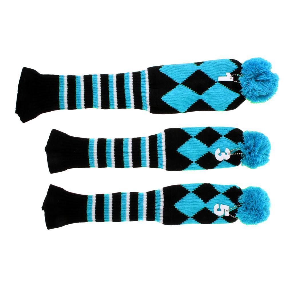 ensemble-de-3-golf-pom-pom-couvre-chef-conducteur-fairway-bois-couvre-chefs miniature 15