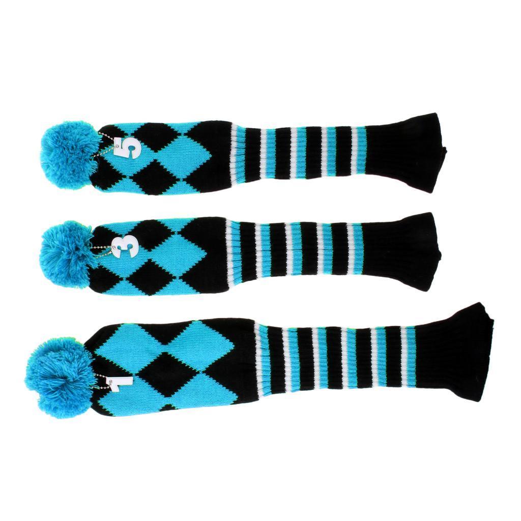 ensemble-de-3-golf-pom-pom-couvre-chef-conducteur-fairway-bois-couvre-chefs miniature 17