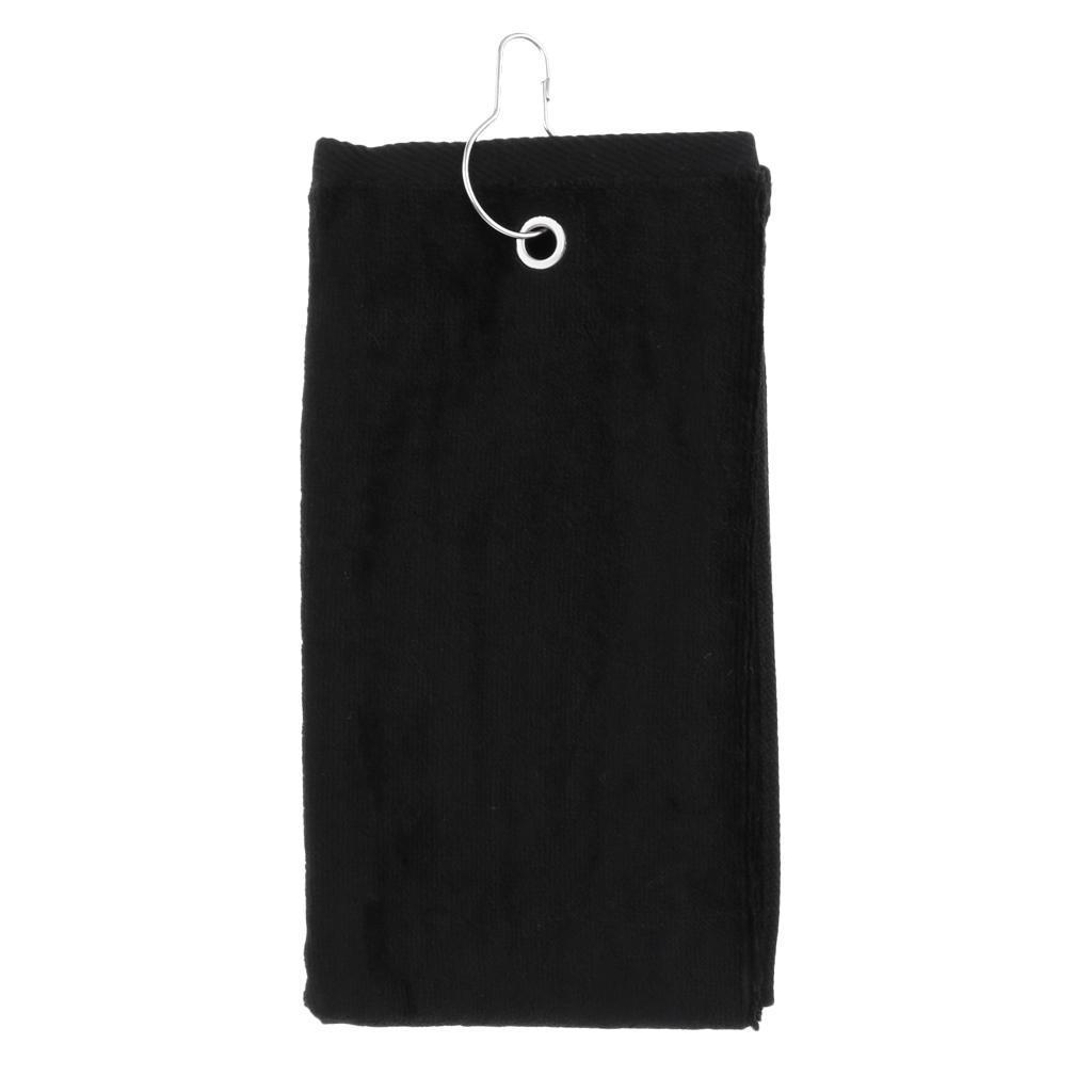 55x40cm-Cotton-Tri-Fold-Hiking-Cotton-Golf-Sport-Bag-Towel-W-Carabiner-Clip thumbnail 9