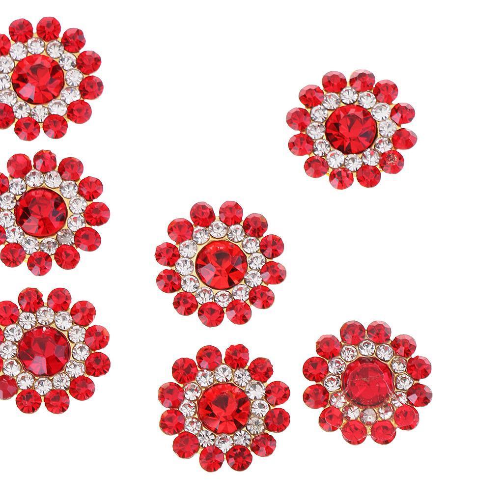 10Pcs 14mm Round Pearl Rhinestone Shank Button Sewing Craft Embellishment DIY