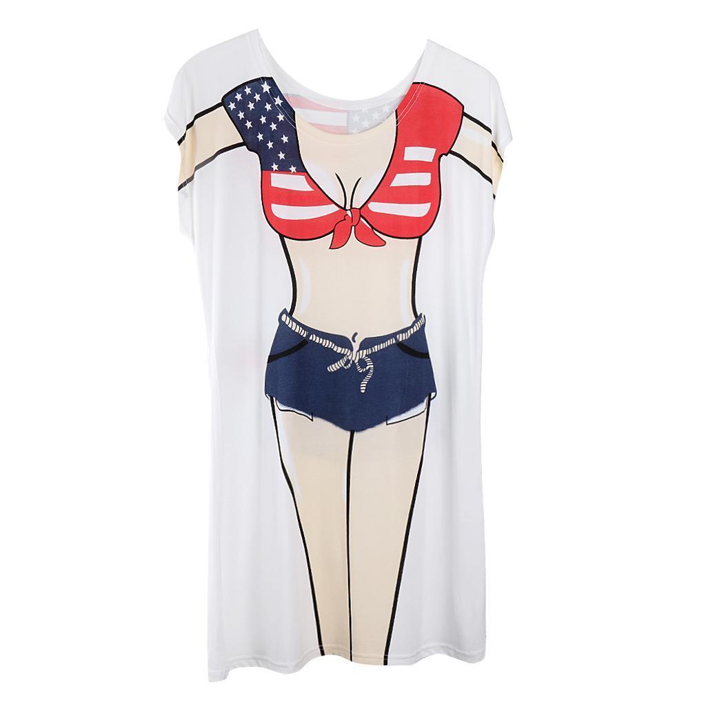 Womens-Bikini-Hawaiian-Summer-Beach-T-Shirt-Cover-Ups-Souvenir-Hen-Night-Pajamas thumbnail 26