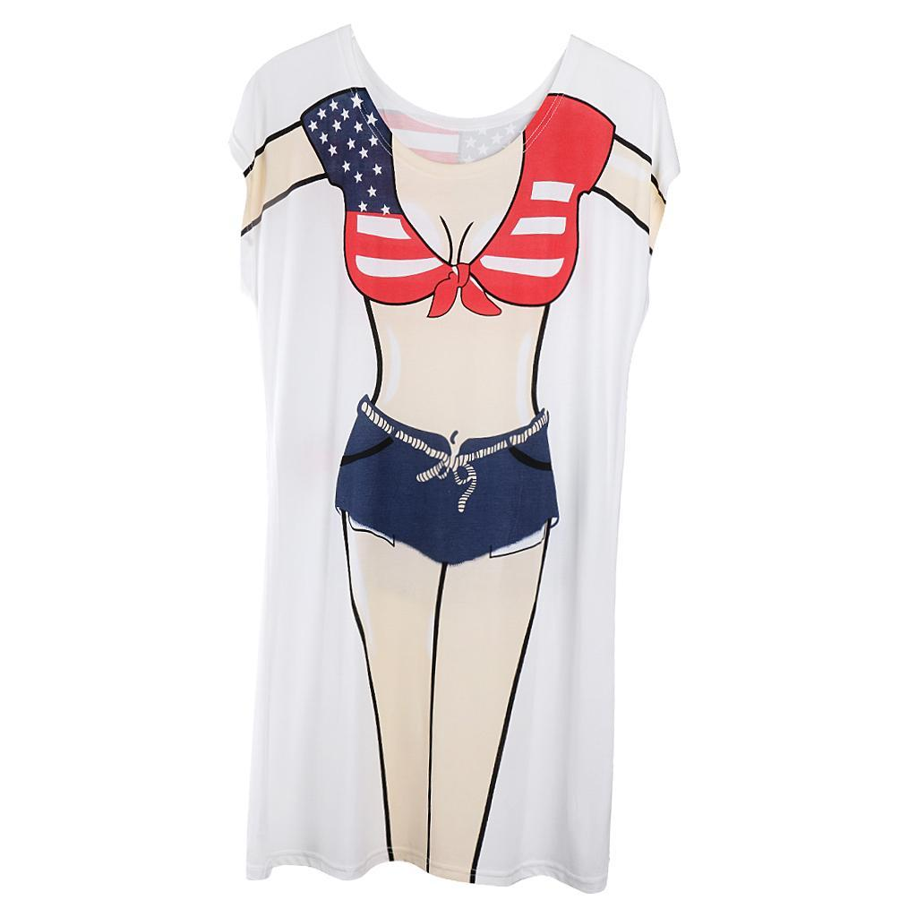 Womens-Bikini-Hawaiian-Summer-Beach-T-Shirt-Cover-Ups-Souvenir-Hen-Night-Pajamas thumbnail 33