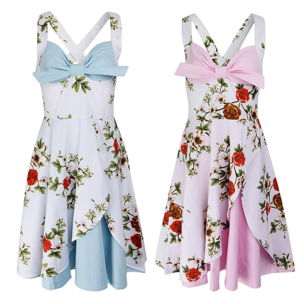 Light Pink Blue Floral Printed Halter Dress Pleated Cotton