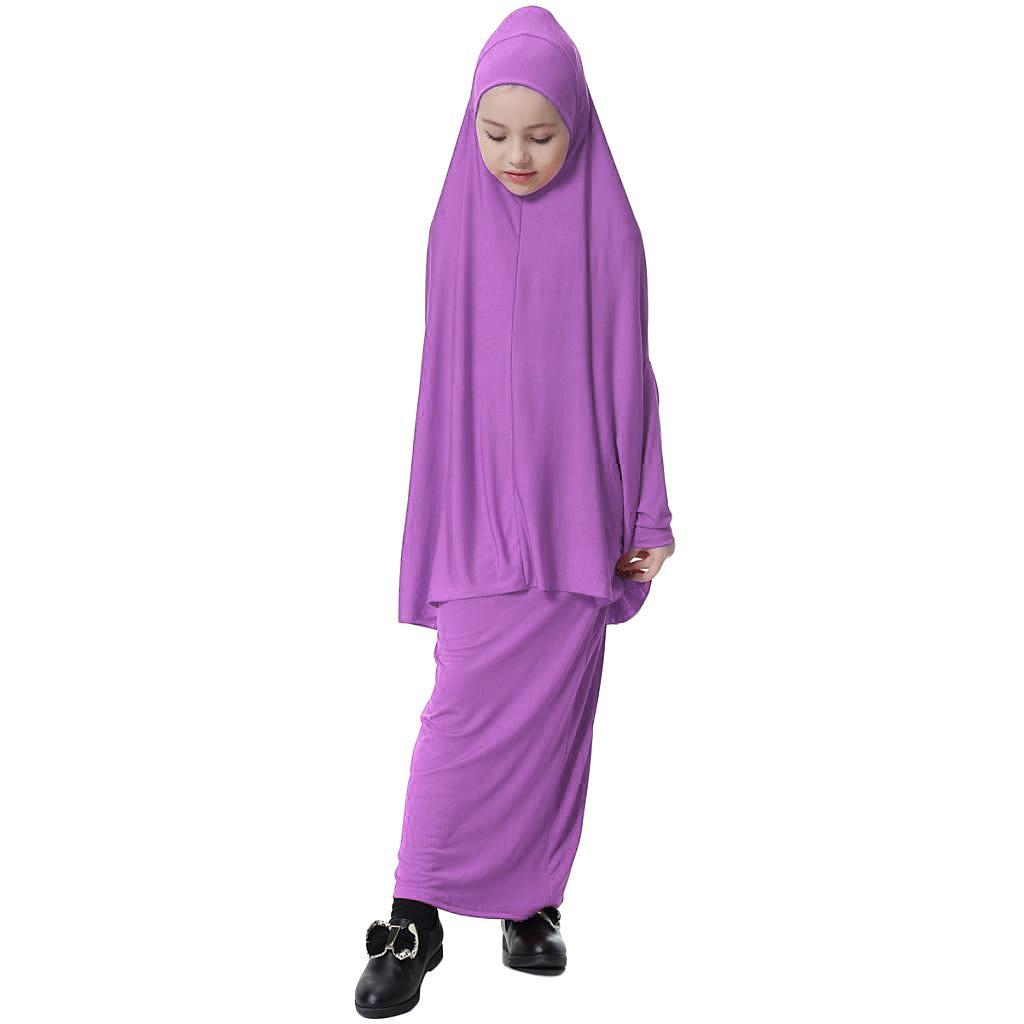 Fille-Robes-Musulmane-Islamique-a-Manches-Longues-Deux-Pieces-Priere-Robe miniature 5