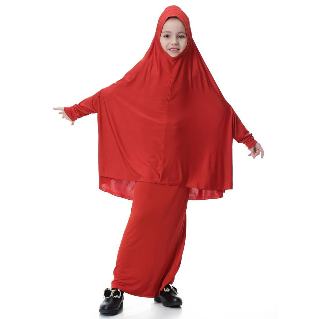 Fille-Robes-Musulmane-Islamique-a-Manches-Longues-Deux-Pieces-Priere-Robe miniature 17
