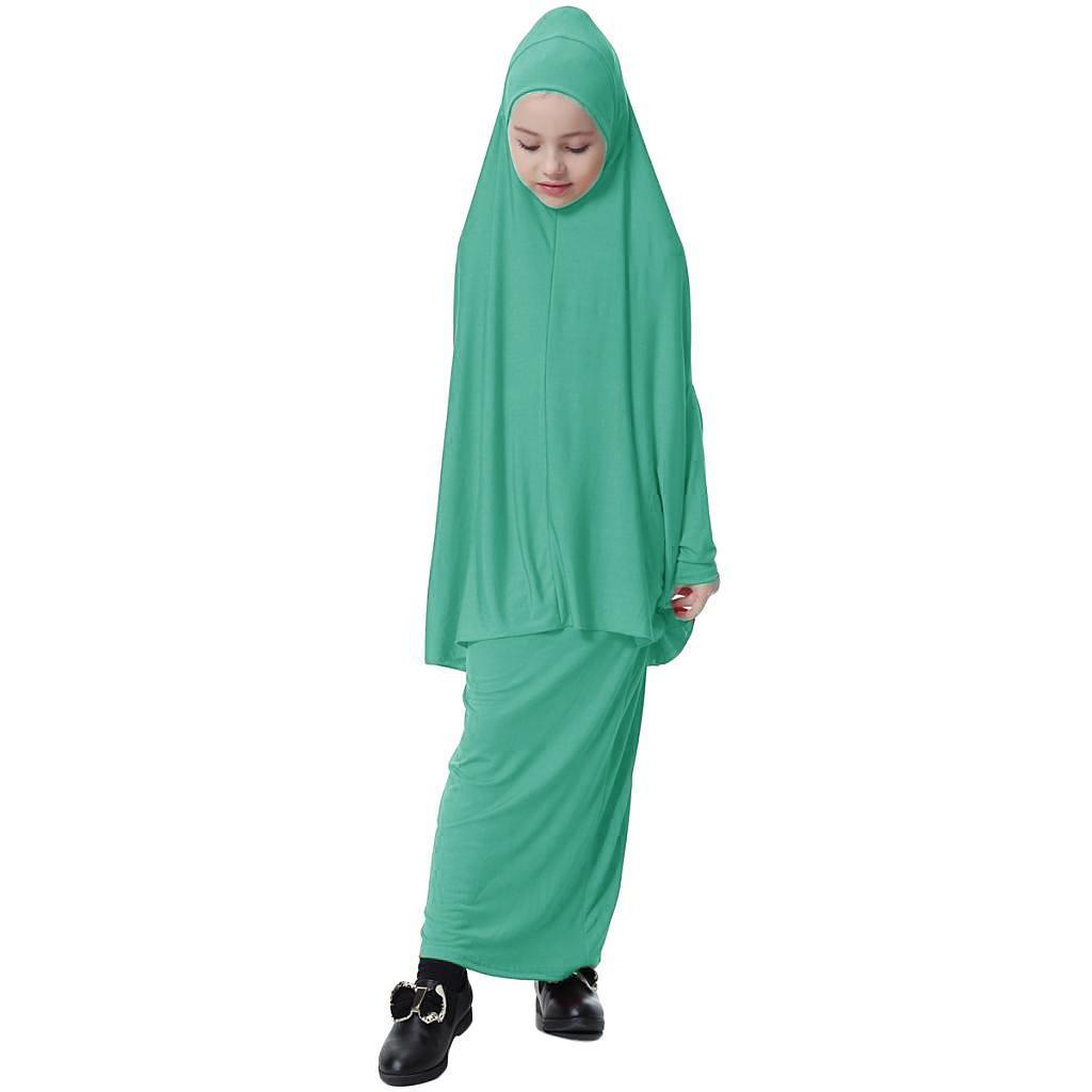 Fille-Robes-Musulmane-Islamique-a-Manches-Longues-Deux-Pieces-Priere-Robe miniature 50