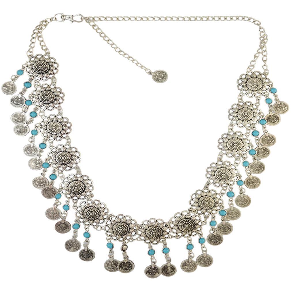 Womens Antique Silver Bohemain Coins Tassel Dangle Belly Dance Chain Waist Belt