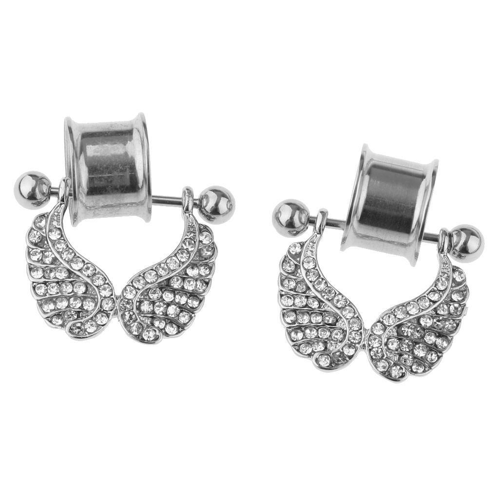 2-pezzi-in-acciaio-inox-Angel-Wings-Ear-Plugs-Tunnel-Expander-Calibri-Bar miniatura 18