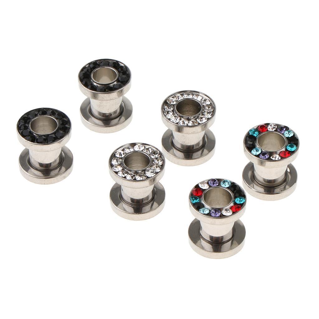 3-coppie-di-tappi-per-orecchie-in-acciaio-inox-Vite-per-tunnel-Tappi-per miniatura 3