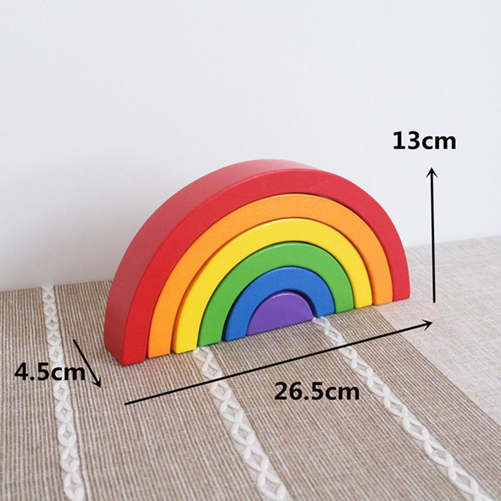 Wooden-Rainbow-Building-Stacking-Blocks-Montessori-Toy-Gift-for-Baby-Toddler thumbnail 8