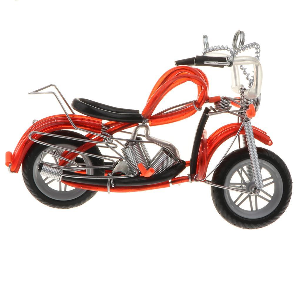 Modello-Di-Motocicletta-In-Metallo-Realistico-In-Ufficio-Vintage-Home-Decor miniatura 4