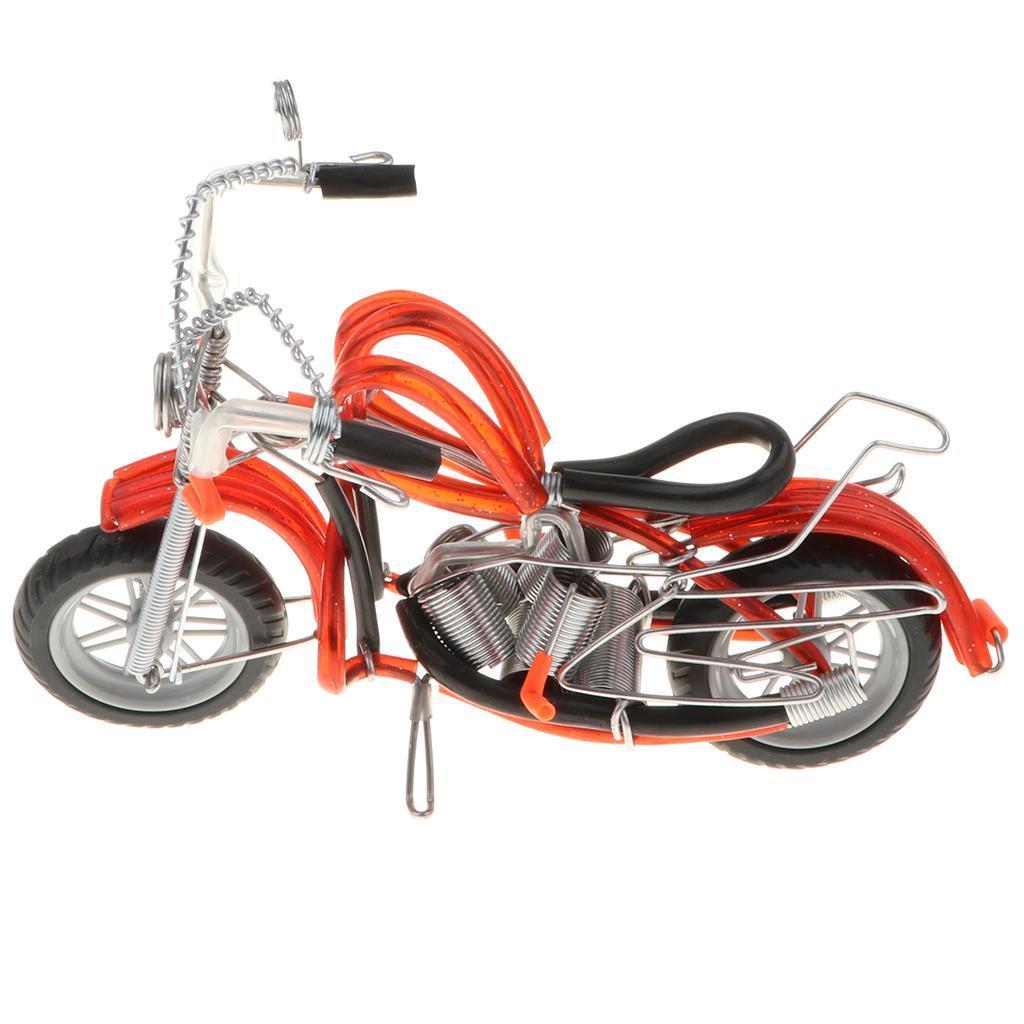 Modello-Di-Motocicletta-In-Metallo-Realistico-In-Ufficio-Vintage-Home-Decor miniatura 3