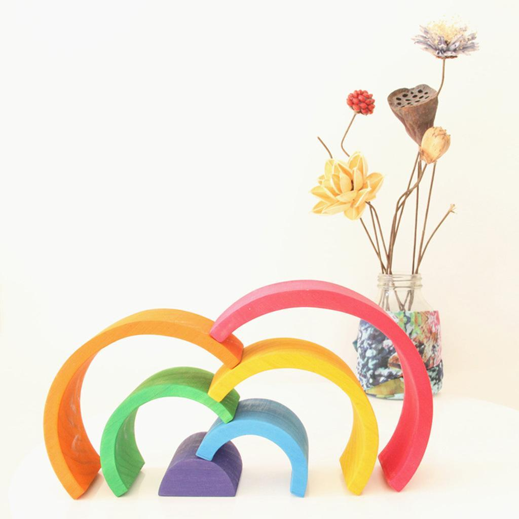 Wooden-Rainbow-Building-Stacking-Blocks-Montessori-Toy-Gift-for-Baby-Toddler thumbnail 3