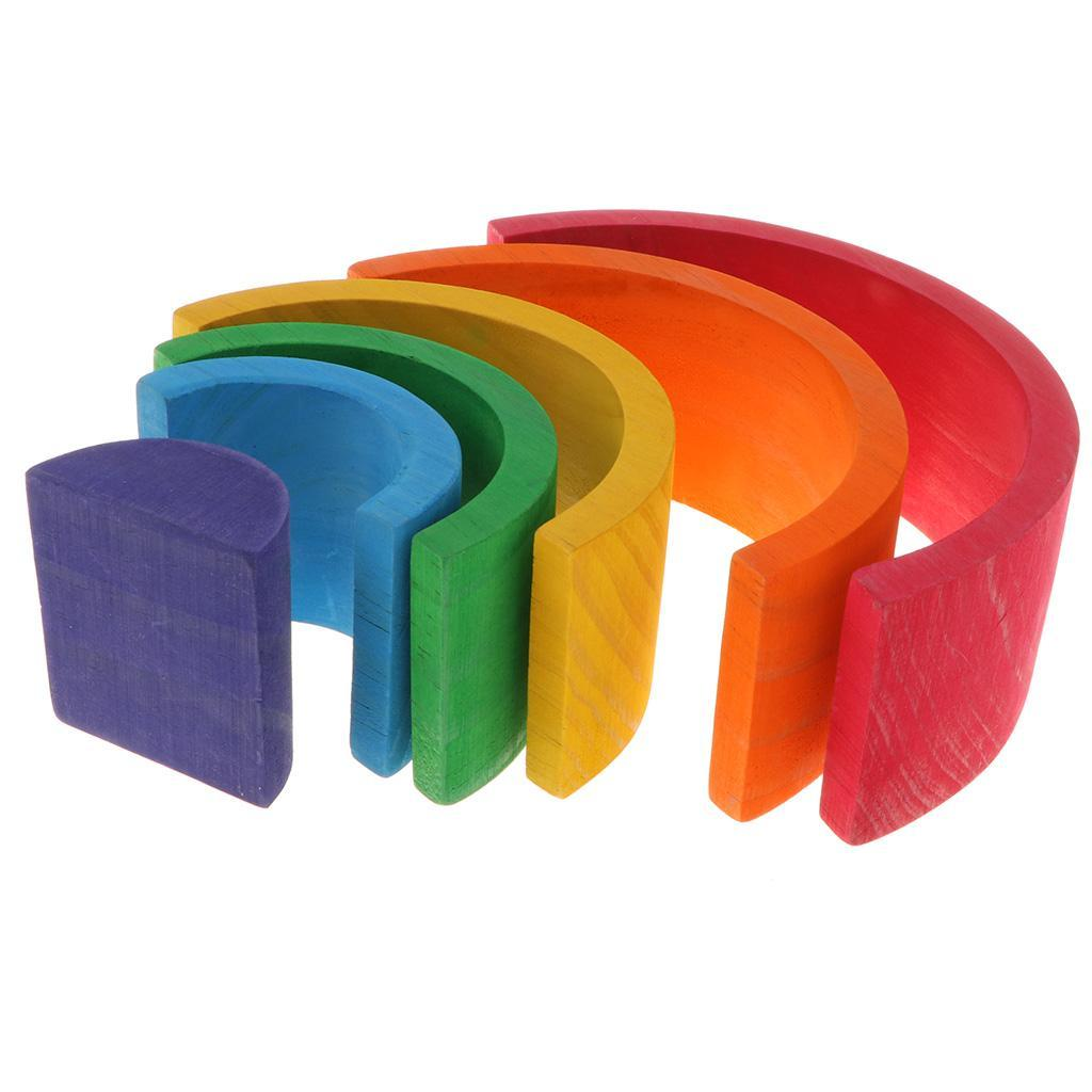 Wooden-Rainbow-Building-Stacking-Blocks-Montessori-Toy-Gift-for-Baby-Toddler thumbnail 4