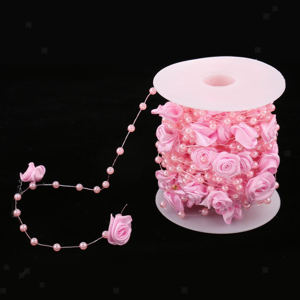 10m Romantic Rose Flower Pearls String Plastic Beads