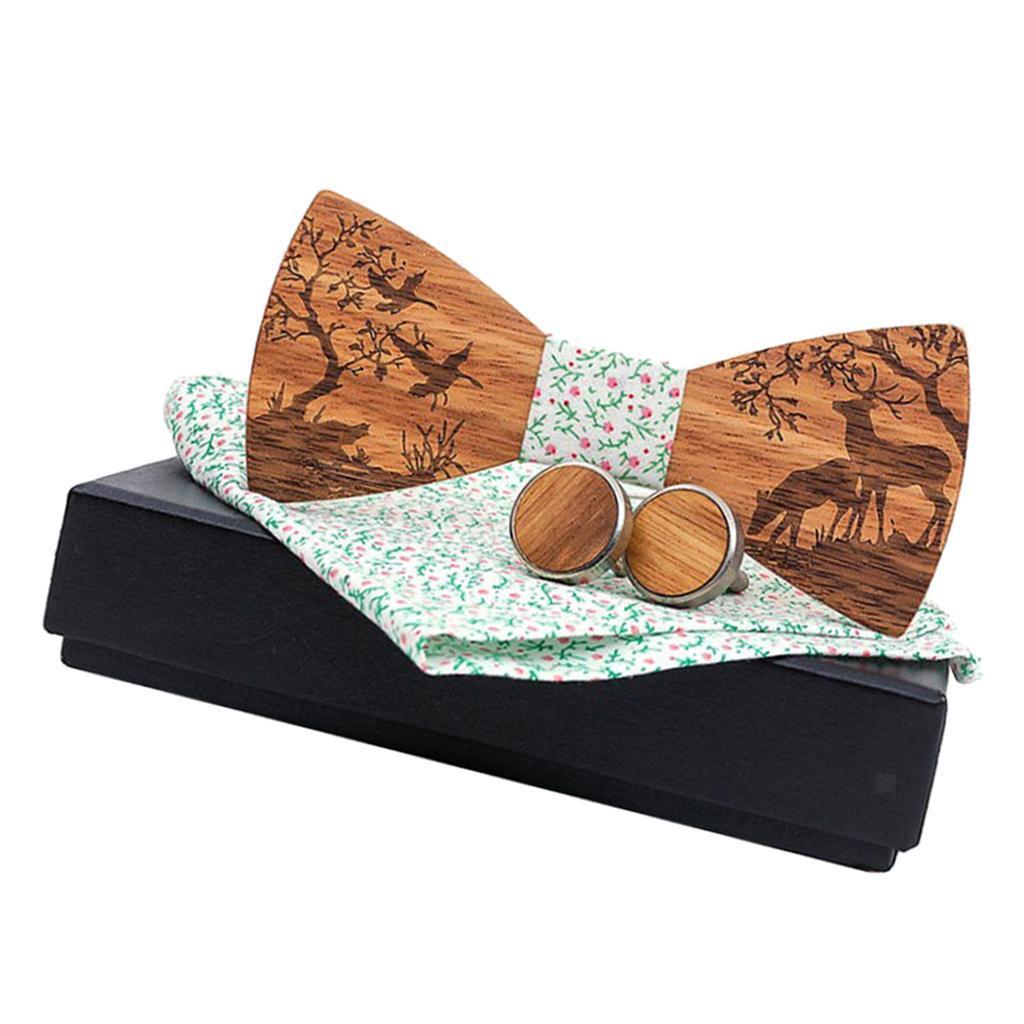 Men-Wooden-Bow-Tie-Set-Patterned-Wood-Bowtie-Handkerchief-Cufflinks-Sets thumbnail 3