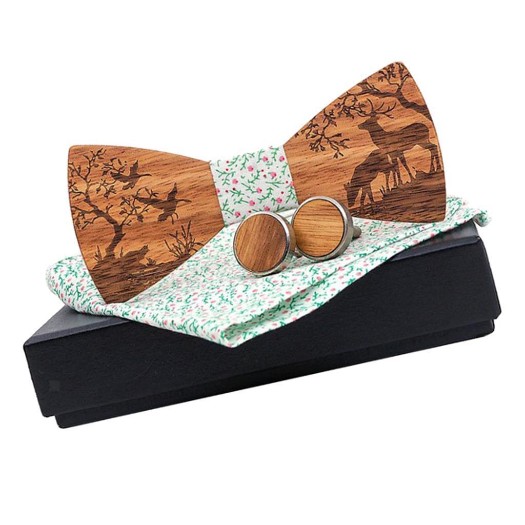 Men-Wooden-Bow-Tie-Set-Patterned-Wood-Bowtie-Handkerchief-Cufflinks-Sets thumbnail 4