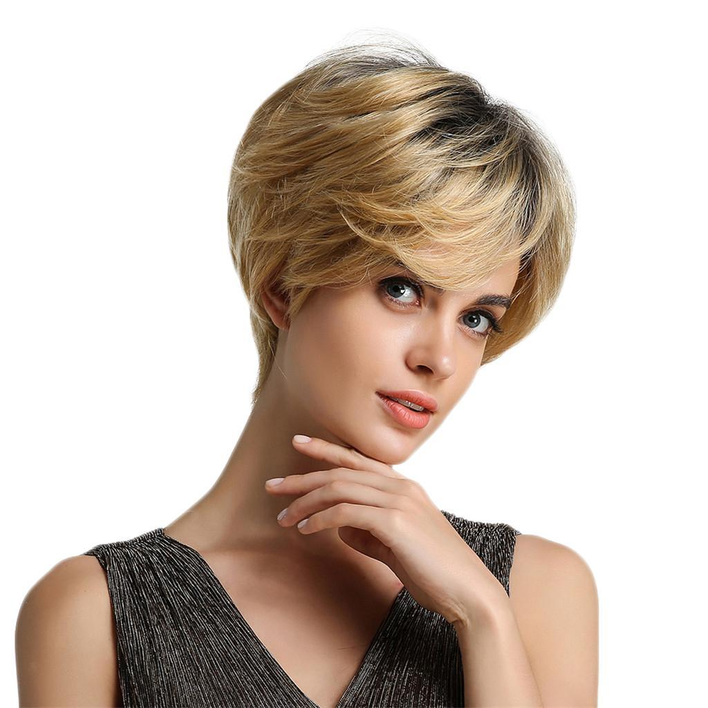 8'' Human Hair Lady Short Wigs Layered Cosplay Pixie Cut ...