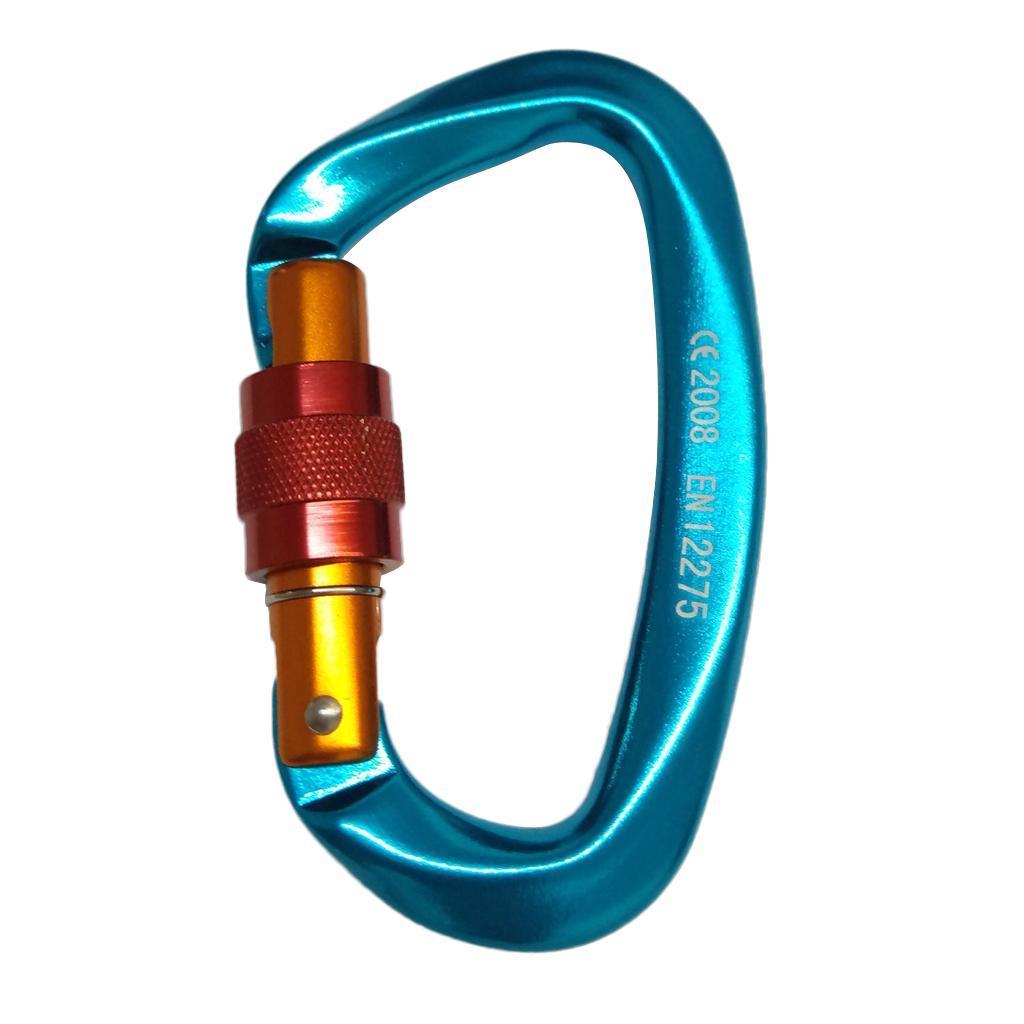 24KN Aluminum Screwgate Carabiner Screw Lock Caribeaner D-ring Hook Orange