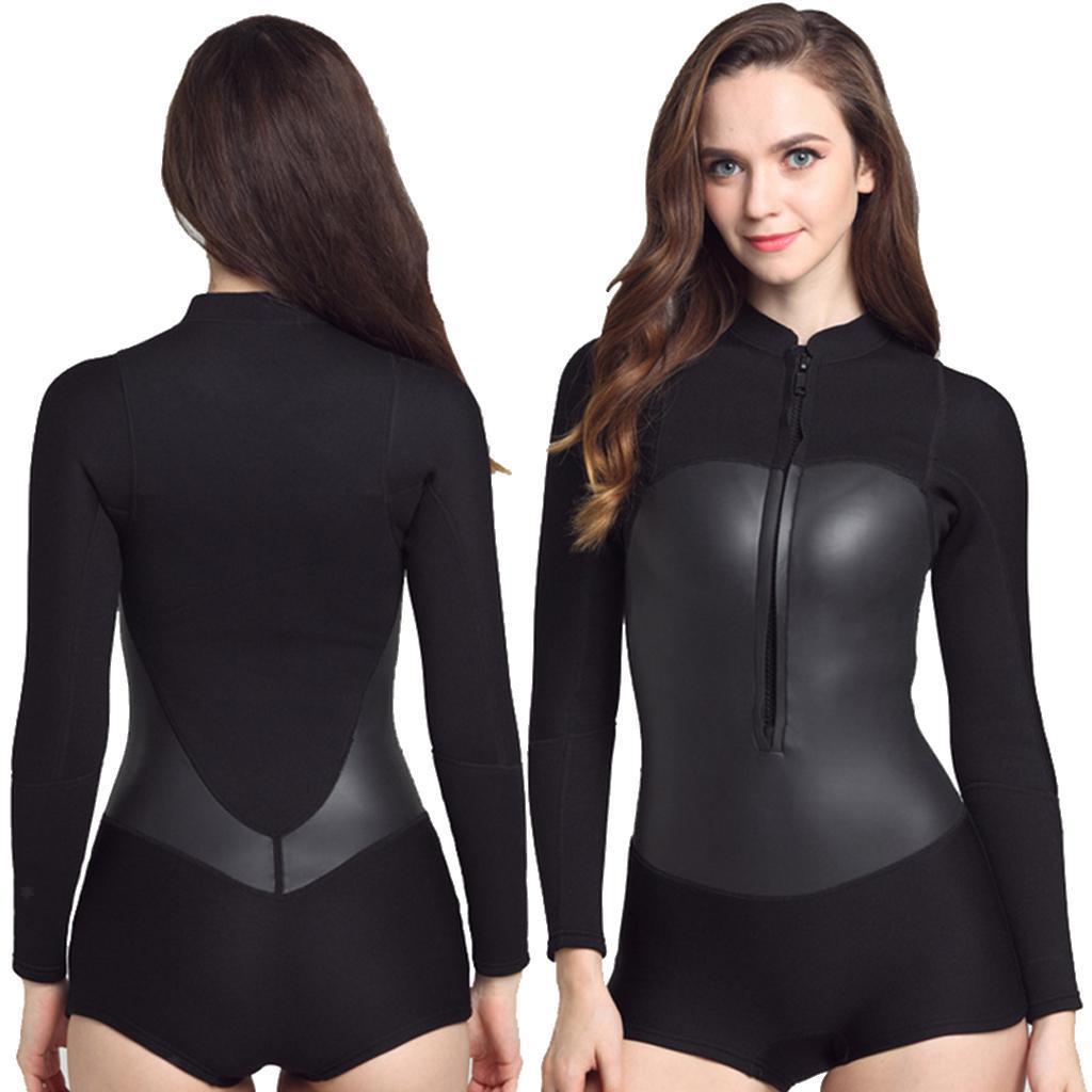 224ca76251 2mm Black Neoprene Long Sleeve Bikini Spring Suit Wetsuit Kayak Surf Surfing