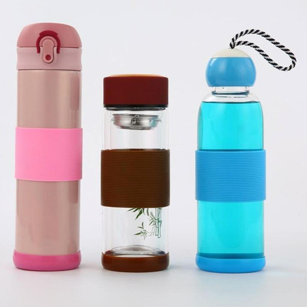 MagiDeal-Outdoors-Silicone-Round-Non-slip-Water-Bottle-Mug-Cup-Sleeve-Cover thumbnail 4