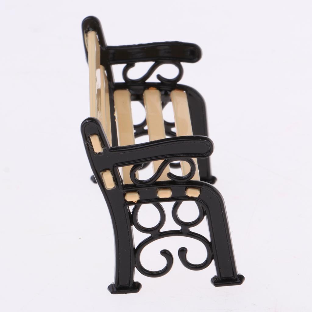 BANC DE PARC de mobilier de jardin miniature de maison de poupée 1/12 avec