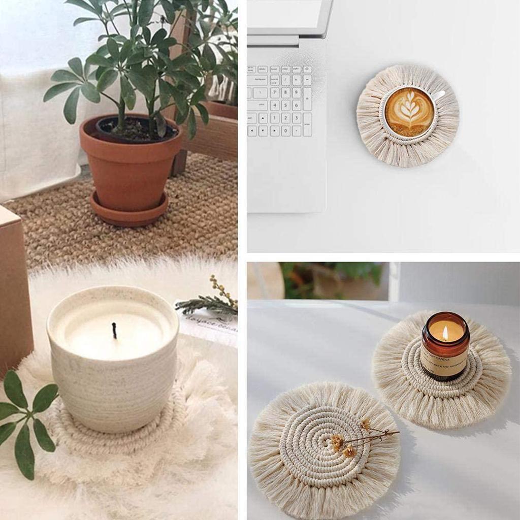 Handmade Braided Cup Mat Macrame Coasters Pad Table Mat Cotton Style 1 –  felzon