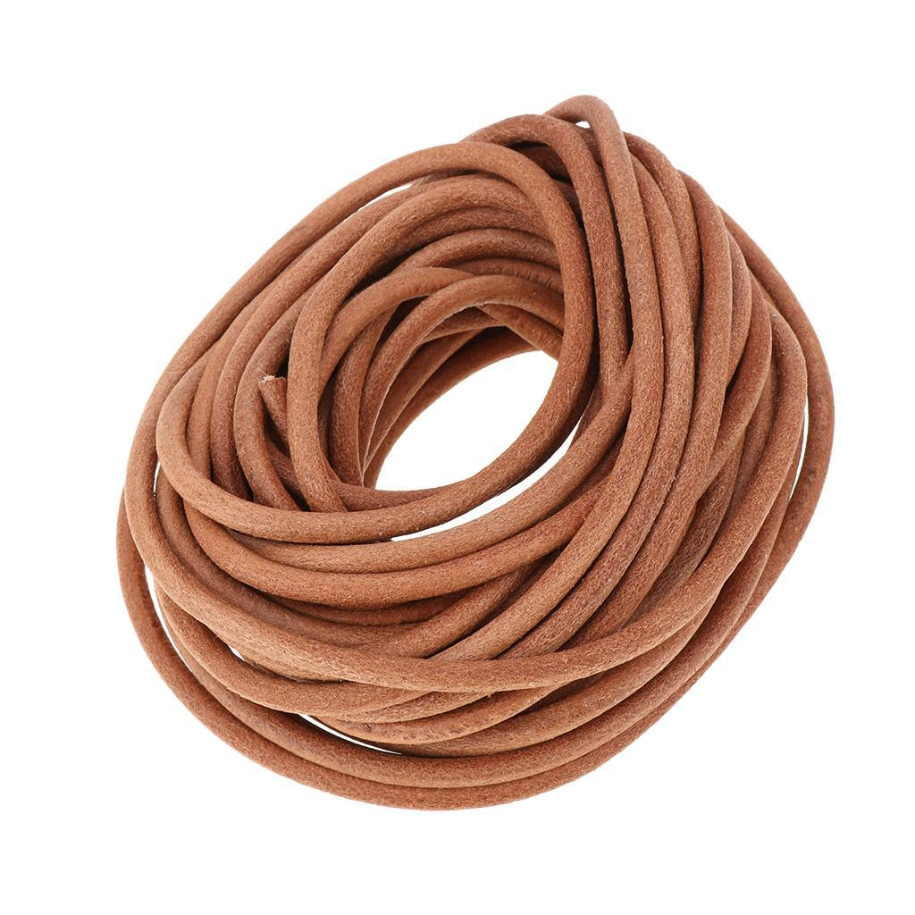10-Meters-Round-Leather-Cord-Cowhide-Leather-Cord-5mm-6mm-8mm-Diameter miniature 3