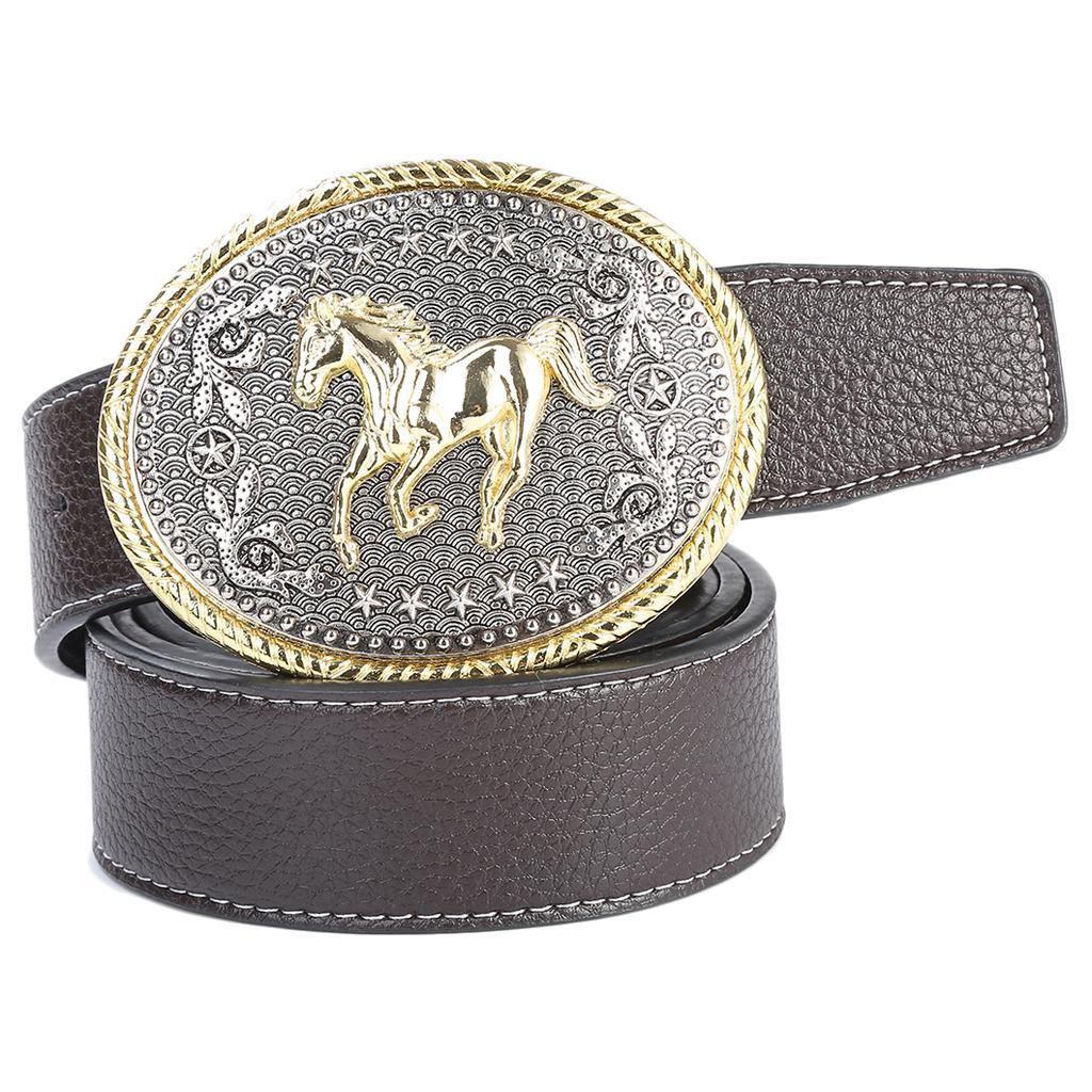 Retro-Western-Cowboy-Leather-Belt-Indian-Oval-Running-Horse-Buckle-Waistband thumbnail 8