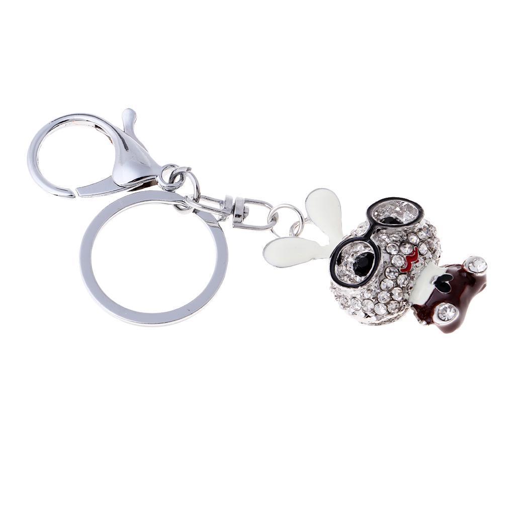 Cartoon-Rabbit-Model-Crystal-Keychains-Charm-Pendent-Purse-Bag-Car-Keyring thumbnail 3
