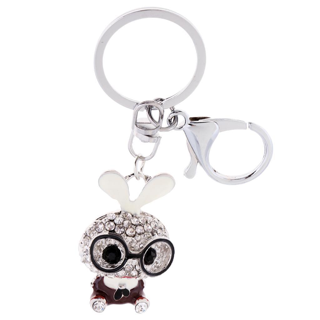 Cartoon-Rabbit-Model-Crystal-Keychains-Charm-Pendent-Purse-Bag-Car-Keyring thumbnail 4