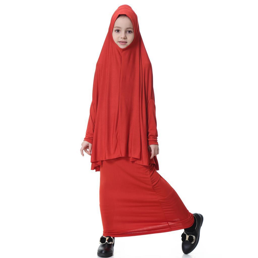 Fille-Robes-Musulmane-Islamique-a-Manches-Longues-Deux-Pieces-Priere-Robe miniature 19