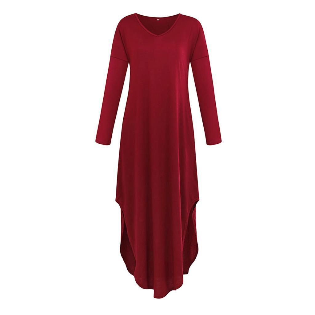 Damen Lose Kleider Langarm Split Lang Kleid Maxikleid ...