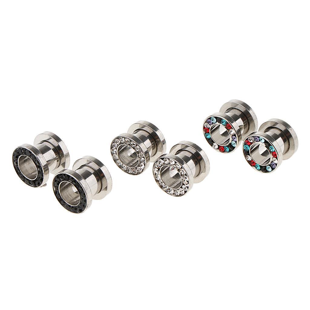 3-coppie-di-tappi-per-orecchie-in-acciaio-inox-Vite-per-tunnel-Tappi-per miniatura 7