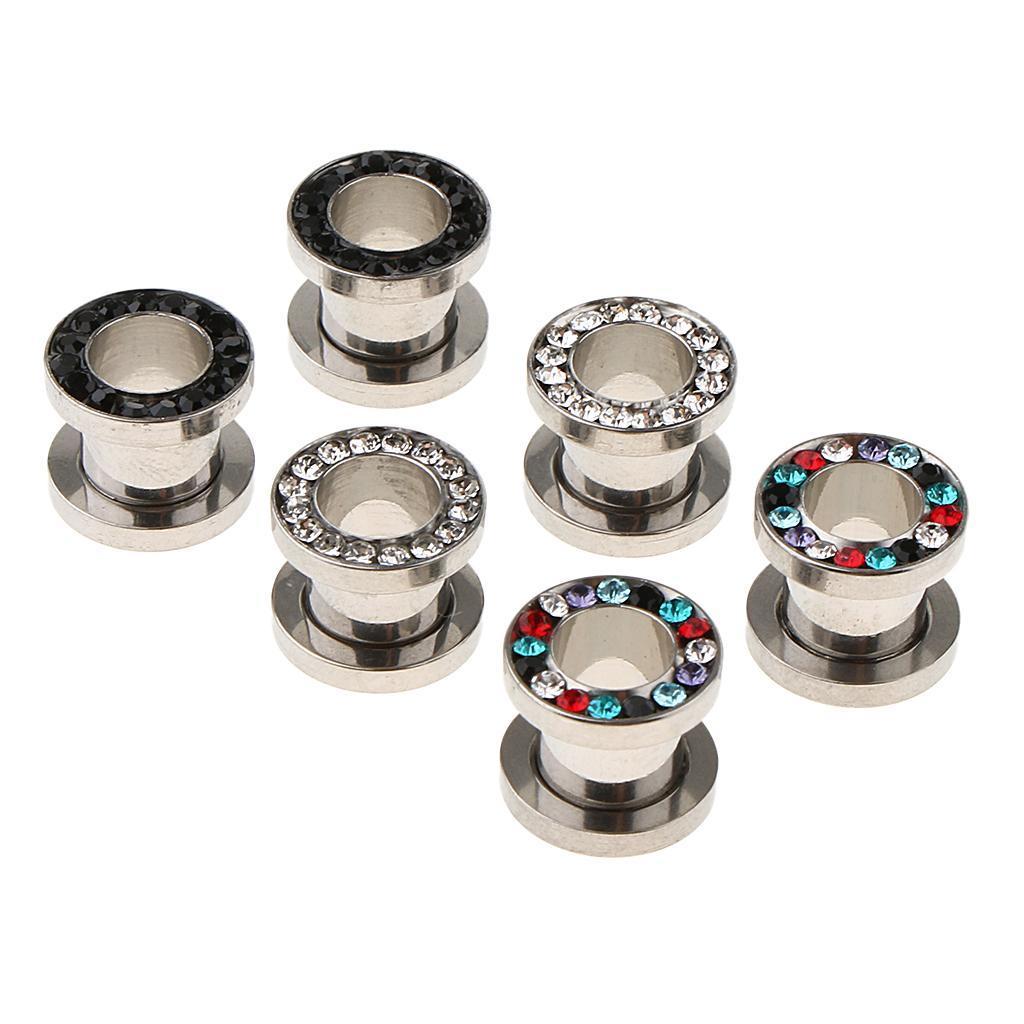 3-coppie-di-tappi-per-orecchie-in-acciaio-inox-Vite-per-tunnel-Tappi-per miniatura 6