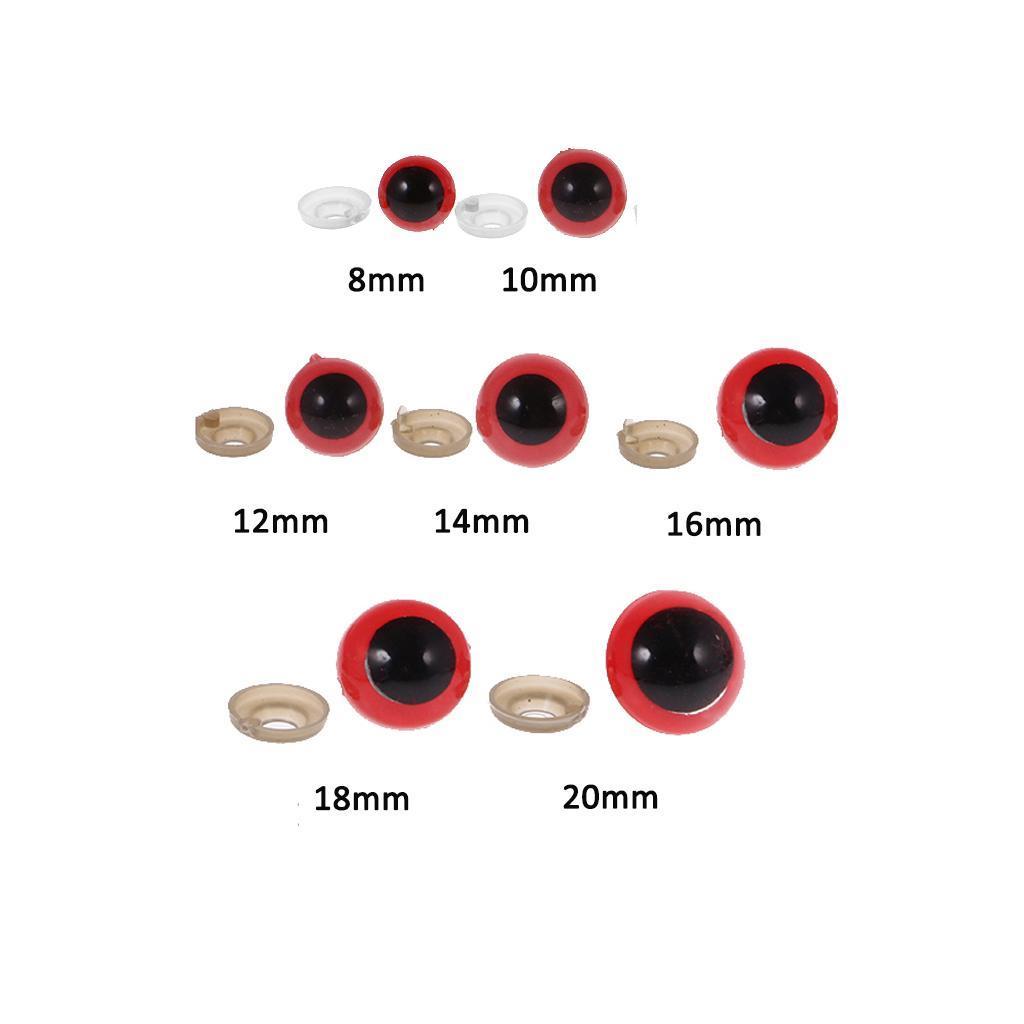 Yeux-de-Securite-Plastique-Plastique-Pour-DIY-Fabrication-Poupee-8-20mm-100Pcs miniature 8