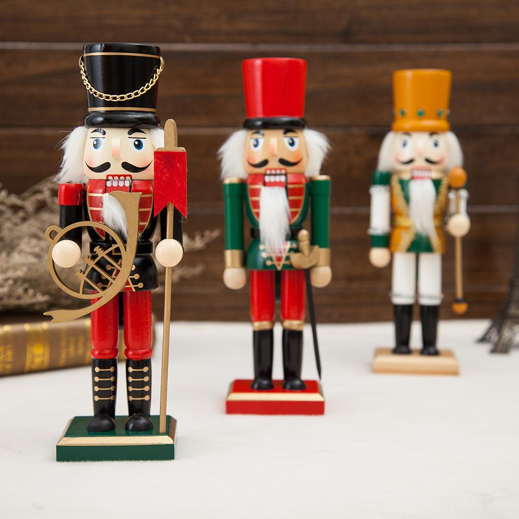 25cm Wooden Soldier Nutcracker Puppets Doll Toy Figurine Christmas Decorations