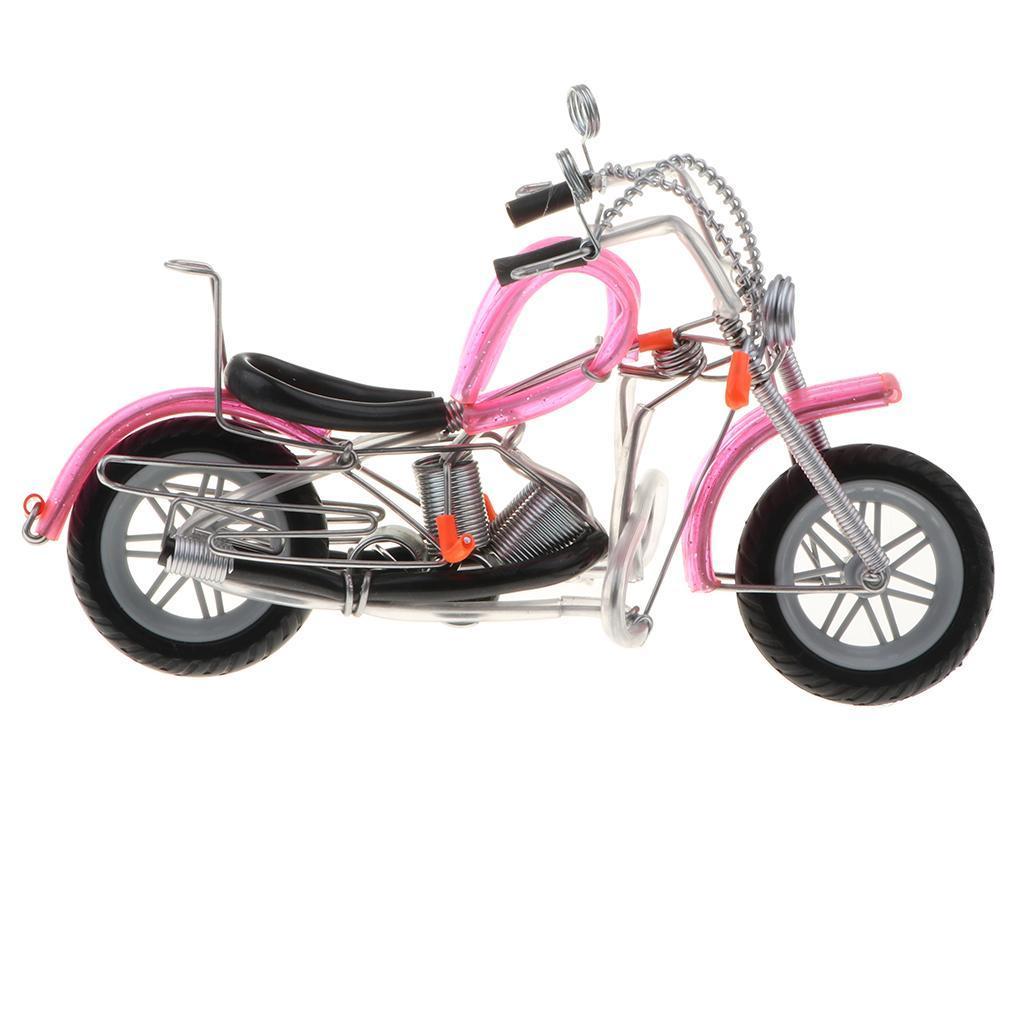 Modello-Di-Motocicletta-In-Metallo-Realistico-In-Ufficio-Vintage-Home-Decor miniatura 8