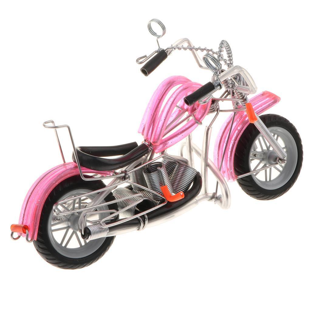 Modello-Di-Motocicletta-In-Metallo-Realistico-In-Ufficio-Vintage-Home-Decor miniatura 7