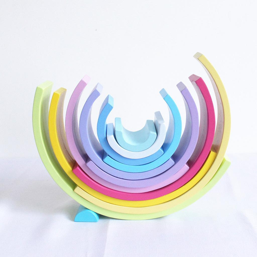 Wooden-Rainbow-Stacker-Nesting-Stacking-Blocks-Educational-Toy-for-Baby-Toddler thumbnail 19