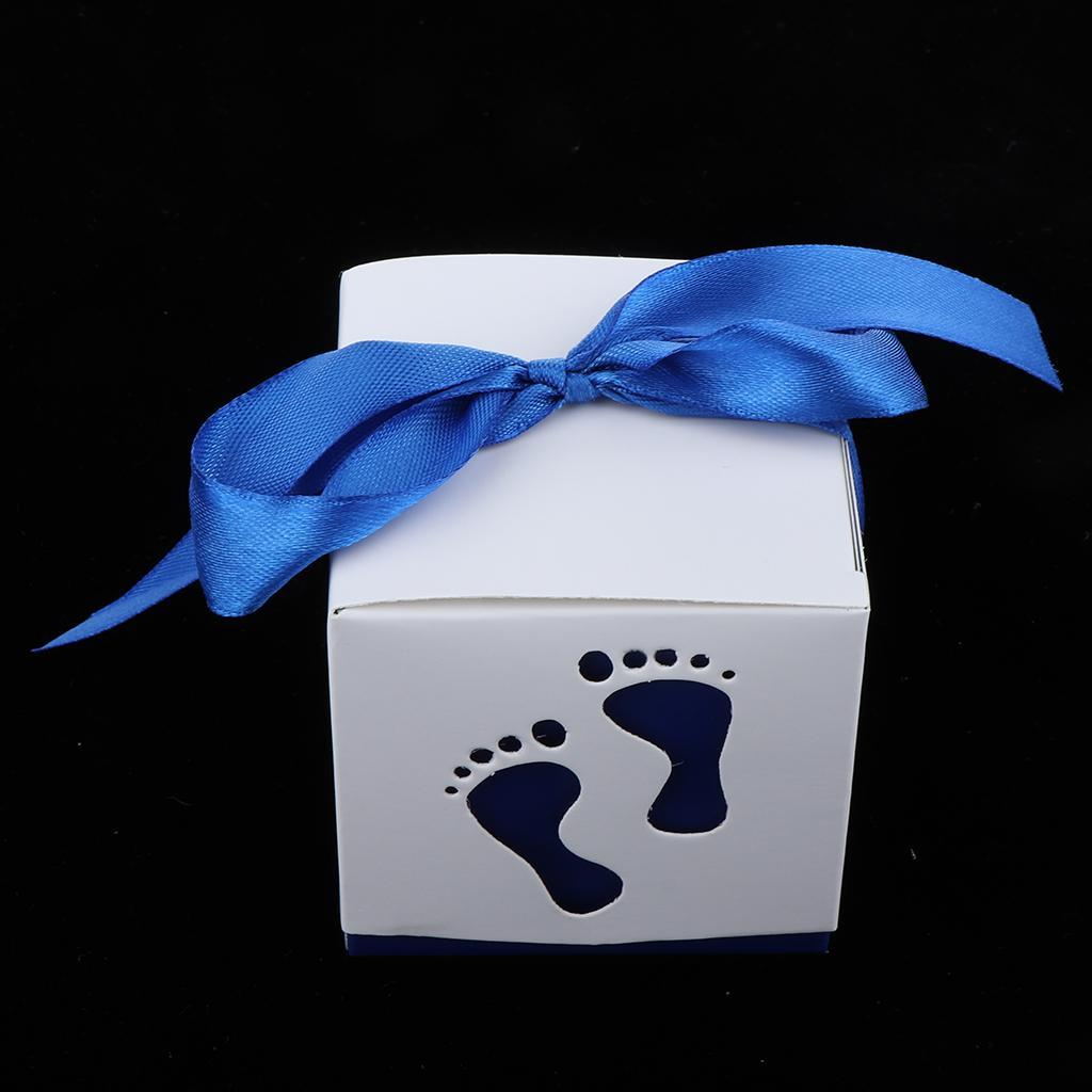 50pcs-Cute-Baby-Footprints-Square-Candy-Boxes-Baby-Shower-Birthday-Gift-Favor thumbnail 3