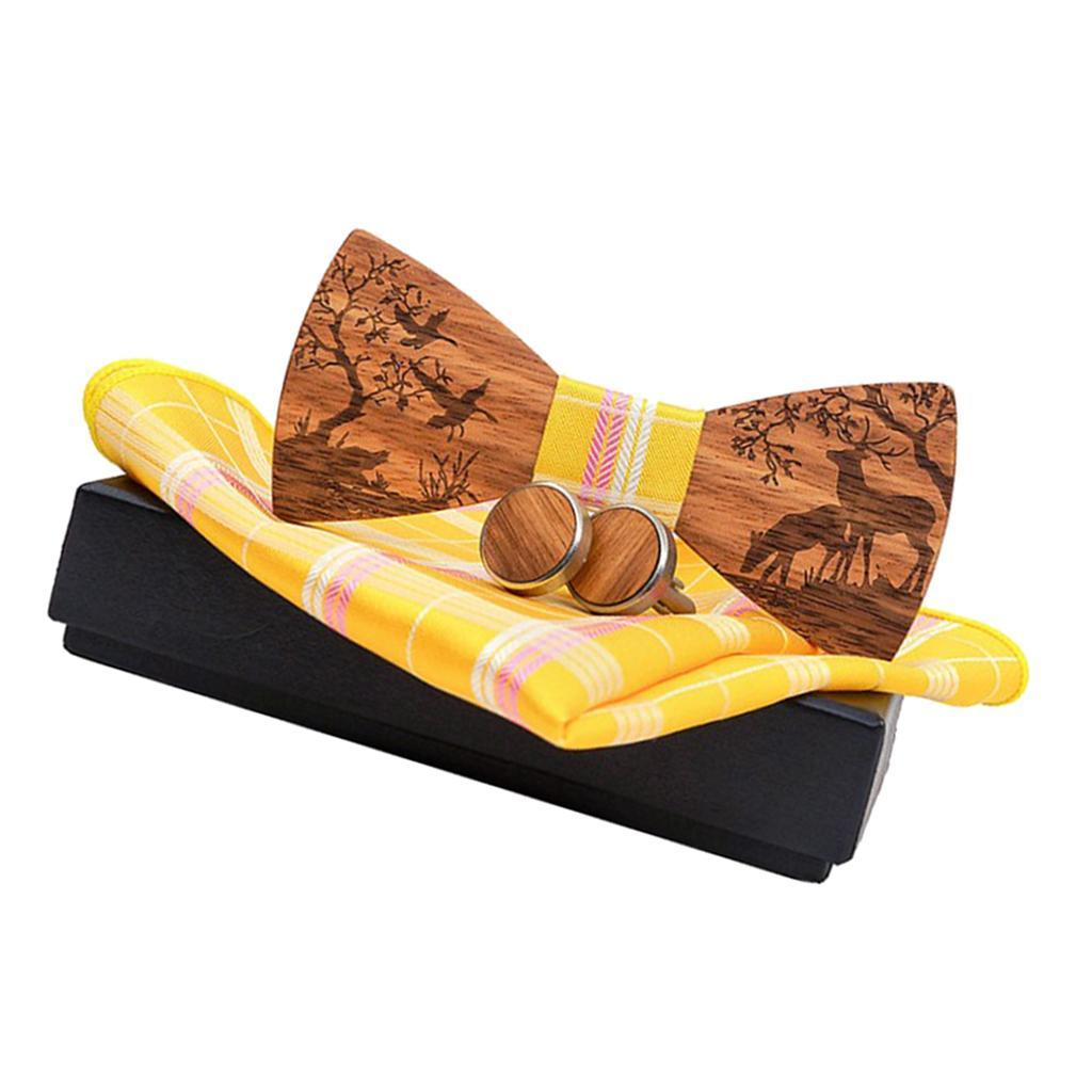 Men-Wooden-Bow-Tie-Set-Patterned-Wood-Bowtie-Handkerchief-Cufflinks-Sets thumbnail 6
