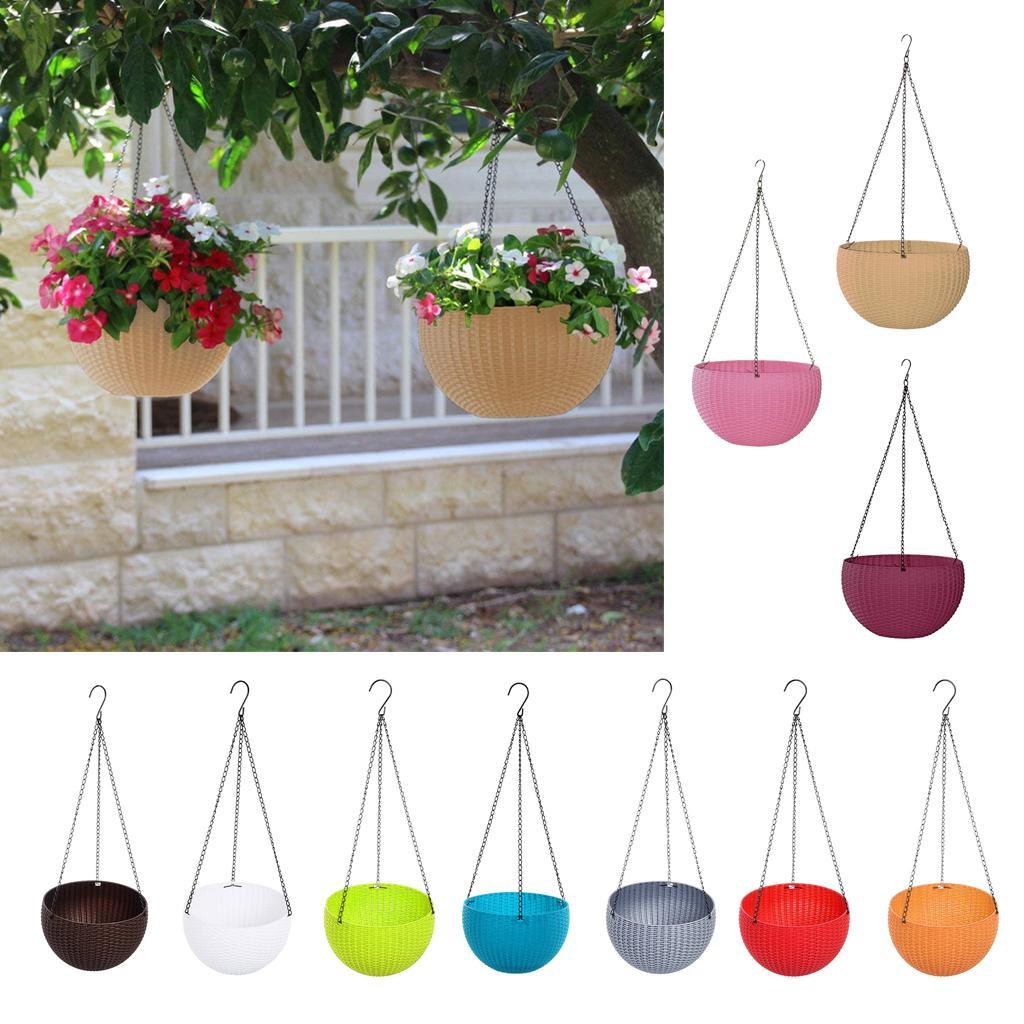 Plastic Hanging Baskets For Plants: Wall Fence Plastic Hanging Basket Garden Plant Flower Pot