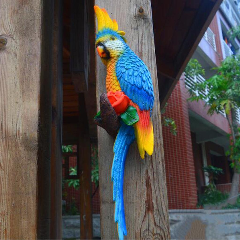 Resin Parrot Bird Figurine Wall Mount Statue Ornament